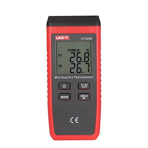 Ballylelly-UT320D K/J Typ Dual-CH Digital Thermoelement Thermometer Handheld Temperaturmessgerät 2 Stücke K Typ Sonde 0~260 ℃ -