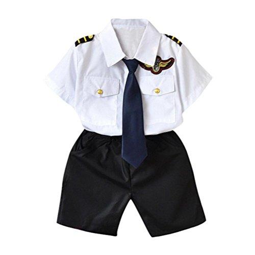 Hirolan Taufkleid Festlich Festzug Babybekleidung Sweatshirts&hosen Kinderbekleidung Baby Jungen T-Shirt Oberteile + Taschenhosen Marine Krawatte Formelle Kleidung (95-100CM, Weiß)