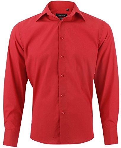Camicia uomo classica rosso regular fit confortevole e elegante con maniche lunghe taglia s