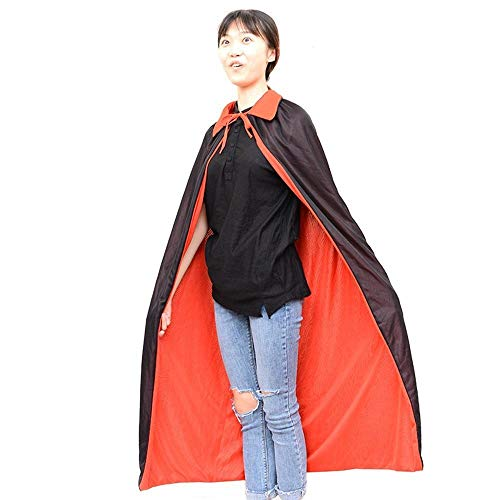 Olydmsky karnevalskostüme Damen Doppelte schwarz rot mit Hut Cape Halloween Assistenten Cape Vampir Kostüm Abschlussball Kostüm (Herren Kostüm Assistent)