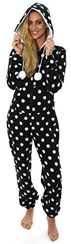 Damen Straight Leg Strampelanzug schwarz schwarz Small Gr. 34, Black Spot with Pom (Schwarzer Strampelanzug Frauen)