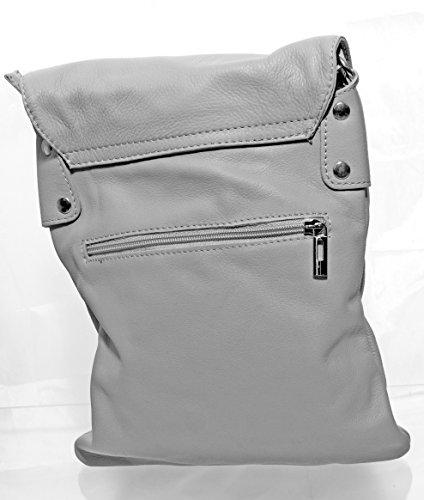 1a36b3b917fba ... Echt Leder Umhängetasche Damen Tasche Handtasche Ledertasche  Schultertasche (braun) hellgrau