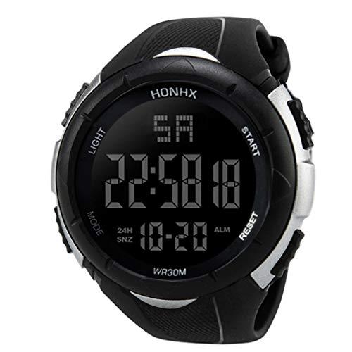 Ouneed Herren Uhren, Armbanduhr der Luxus Mann Analog Digital Militärarmee Sport LED Wasserdichte (Weiß)