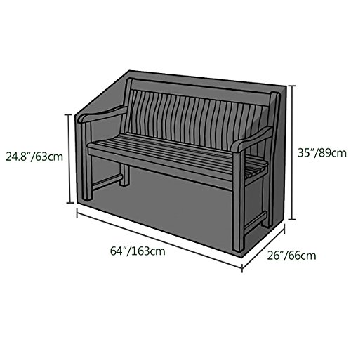 Callni 3 Seater Garden Bench Cover Waterproof Benches Protection Cover Outdooor Patio Furniture Covers 420D Oxford Polyester 163 x 66 x 63/89 cm Black