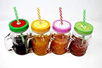 star work PRESENT GLASS MASON JAR WITH HANDLE    Glass With Hole Mason Jar with Lid and Straw(RANDOM COLOUR)(500 ml)suitable to use in your home office ,jars for juices /glass jars set /glass jars for kitchen /glass jar containers /glass jar for gift...