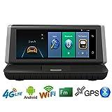 Mrrong Volles HD Schlag-Cam1080p Auto GPS-Navigation 8 Zoll-Touch Screen Doppelobjektiv HD Hintere Ansicht, Die Bild 4G Auto DVR Aufhebt