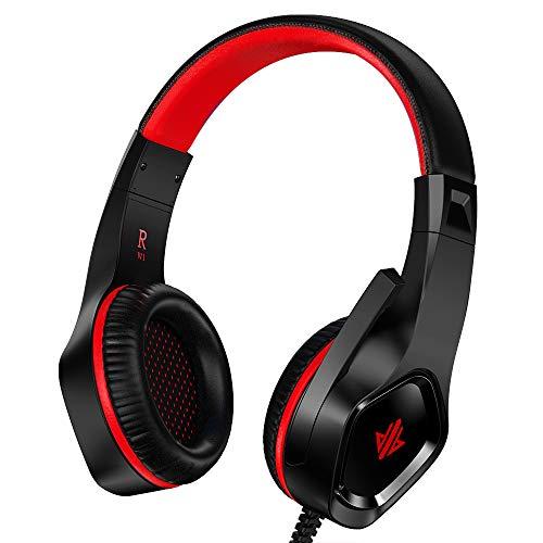zedela Gaming Kopfhörer,Ultraleichtes Gaming Headset mit Mikrofon, Stereo Bass Kabelgebundenes Kopfhörer,3,5-mm-Audioausgang,für PC/PS4/Mac/Xbox 1/Nintendo Switch/Mobile - Rot 3,5-mm-kopfhörer-mikrofon