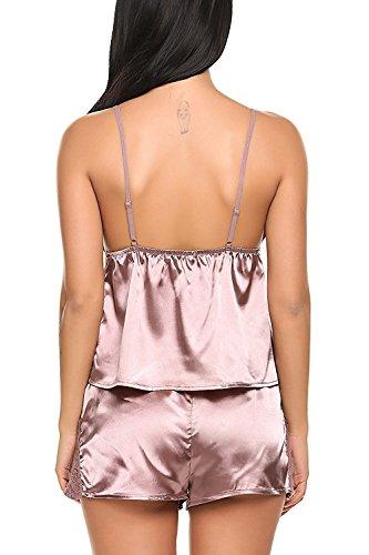Avidlove Satin Nachtwäsche Pyjama Set Sommer Damen Negligee Kurz Schlafanzüge Sexy Nachthemd mit Spitzenbesatz Kaffee