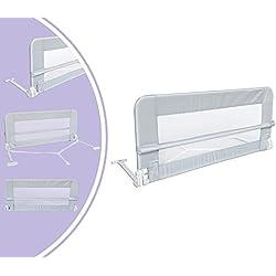 Leogreen - Barrière de Sécurité pour Lit de Bébé, Barrière de Sécurité Pliable, 1,2 mètre(s), Gris, Matériau: Tissu en nylon