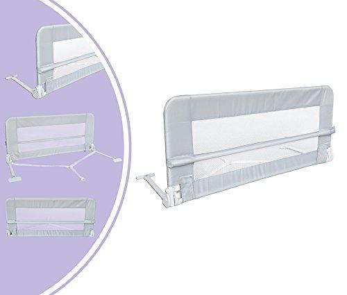 Leogreen - Barandilla de Seguridad para Cama de Bebés y Niños Pequeños, Barrera de Cama Plegable, 1,2 Metro(s), Gris, Material: Tela de nylon