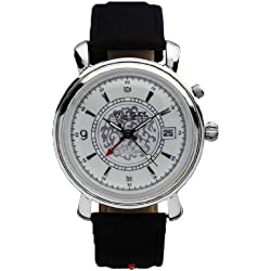 Gents Sterling Silver Alarm Wristwatch with Date - Black Leather Strap