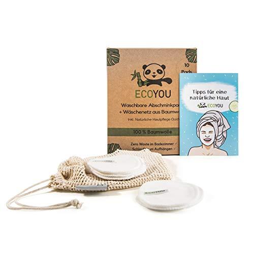 EcoYou Waschbare Abschminkpads aus 100{d4766d2d11ab75080ade7ab63afaa75b110f84d5f75ade5744b6e0e5a1187ab0} Baumwolle ♻ Wiederverwendbare Wattepads 10 STÜCK ♻ Nachhaltige Gesichtspflege für Frauen Inkl. DIY REZEPTE und Baumwoll-Wäschenetz