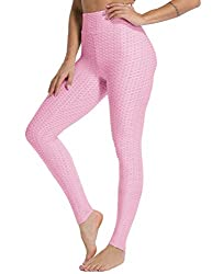 FITTOO Damen Sport Leggings Leggings Yoga Fitness Hose Lange Sporthose Stretch Workout Fitness Jogginghose,XL,Rosa