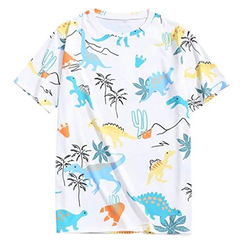 Tyoby Herren Sommer Mode T-Shirt Druck Rundhals Tee Regular fit Polyester Freizeit Kurzärmliges Oberteil(Weiß,XL)