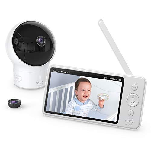 eufy Security SpaceView Babyphon mit 5 Zoll LCD-Display, 720 HD Bild, 140 Meter Reichweite, Weitwinkelobjektiv inklusive, Nachtsicht, beidseitige Autofunktion, 2900mAh wiederaufladbarer Akku