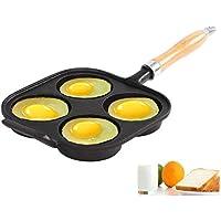 Sartén escalfar 4 huevos cacerola antiadherente sartén portátil desayuno sartén con mango, apto para freír
