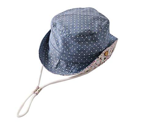 Cloud Kids Sonnenhut Baby UV-Schutz Fischerhut Kappe Sommerhut Punkt Mütze Freizeithut Blau Size 50: Kopfumfang 48cm