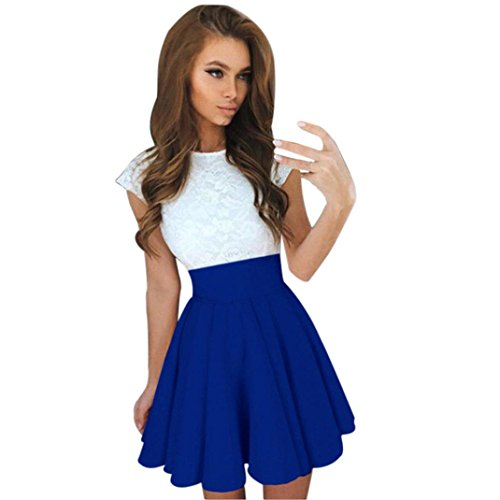 feiXIANG Damen spitzen party Mini kleid aus Spitze mit kurzen Ärmeln damen kleider sommer Rock (S, Blau) Damen Rose Gold Farbe Kleider