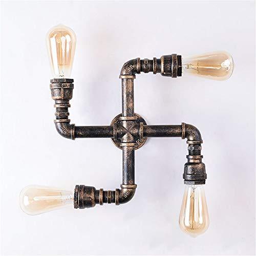 ZEWORLD Vier Glühbirnen Retro Metall Wasserleitung Licht Wandleuchte Industrielle Vintage Wasserleitung Lampe Steampunk Loft Cafe Restaurant Barber Gallery Bar Treppen -