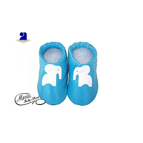 dc929342de413 Poussin Bleu - Chaussons bébé cuir bleu Pointure - 8 - 12 mois