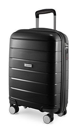 HAUPTSTADTKOFFER - PRNZLBRG - Bagaglio a mano, trolley cabin size, valigia rigida leggera, TSA, 4 ruote, 55 cm, 36 L, Nero