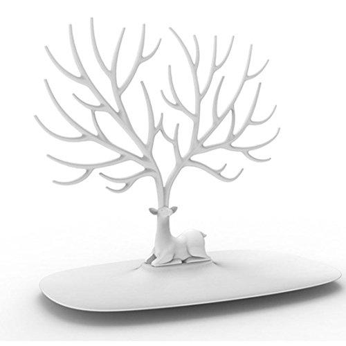 Schmuckständer, iTECHOR Kreative Sikawild Baum Schmuck Zahnstange Gestell Regal Ständer Halter Regallager Ausstellungsstand Organisator Schmuckständer für Ohrring Halskette Armband Ring und andere Schmuck---Weiß