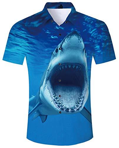 Kostüm Sommer - ALISISTER Hawaiihemd Herren Blau Sommerhemd Kurzarm 3D Hai Drucke Hässliche Aloha Button Down Hawaii Hemd Sommer Urlaub Party Strand Kostüm Shirt L