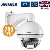 Annke Digital Zoom PTZ CCTV Camera, IP66 Weatherproof Superior Night Vision Security Camera, 700TVL Sony Super HAD CCD 3X Zoom Outdoor PTZ Dome Camera, 360 degree Pan, 90 degree Tilt