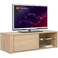 Comifort TV80S – Mueble TV Salón Moderno Mesa Televisión, Colores: Blanco, Madera De Roble, Blanco/Roble, 100x36x32 Cm (Roble Sonoma)