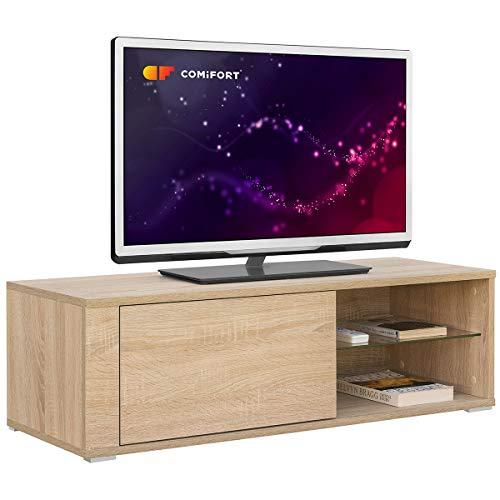 Comifort TV80S - Mueble TV Salón Moderno Mesa Televisión, Colores: Blanco, Madera De Roble, Blanco/Roble, 100x36x32 Cm (Roble Sonoma)