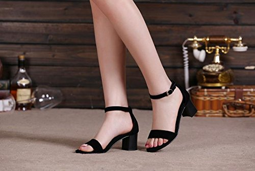 BaiLing Damen Sommer Sandalen / Chunky Ferse / Mode Scrub Damen kleine Größe Schuhe Schwarz