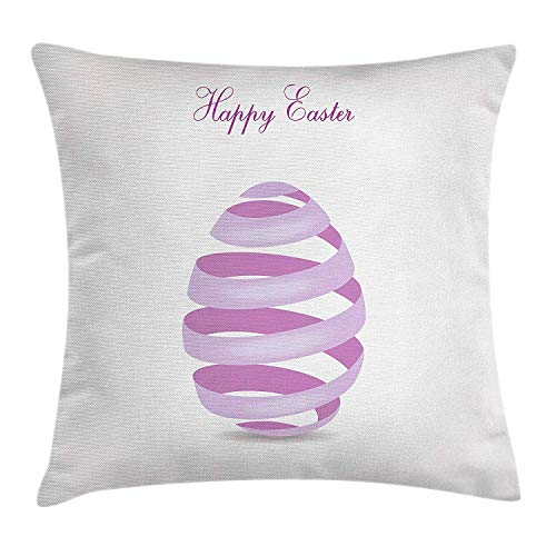 Cupsbags Easter Throw Pillow Cushion Cover, Ornate Ribbon in Egg Shape Spring Easter Holiday Seasonal Celebrations, Decorative Square Accent Pillow Case, Lilac Levander White20