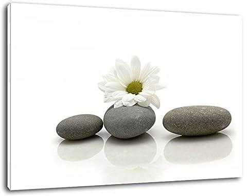 Lotus flower on Zen stone, canvas picture, size: 80x60 cm,