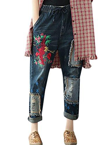 Youlee Donna Autunno ricamato Vita elastica Jeans Stile 1
