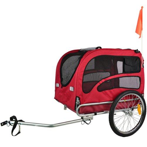 DOGGYHUT Extra Grosser Hundeanhänger mit Jogger Kit Fahrradanhänger 2in1 ROT 70302-01 - 2