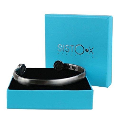 SISTO-X® Magnet-Armreif mit 6 Magneten aus Zinn, elegant, superstark, magnetisch, 6 Stück