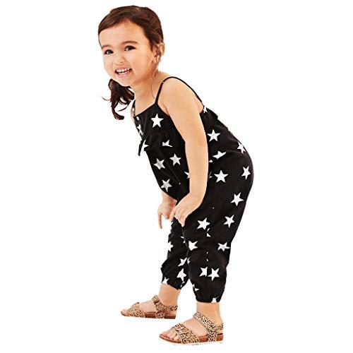 TWISFER Kleinkind Baby Mädchen ärmellose Sterne Drucken Rüschen Rückenfreie Overall Strampler Einfarbig Niedliche Bequeme Baby Mädchen Bodysuit