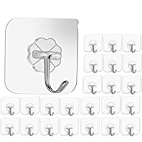 Wall Hooks 20 lbs(Max), 24 Packs Heavy Duty Seamless Hooks, Waterproof and Oil-proof, Bathroom Kitchen Heavy Duty Self Adhesive Hooks