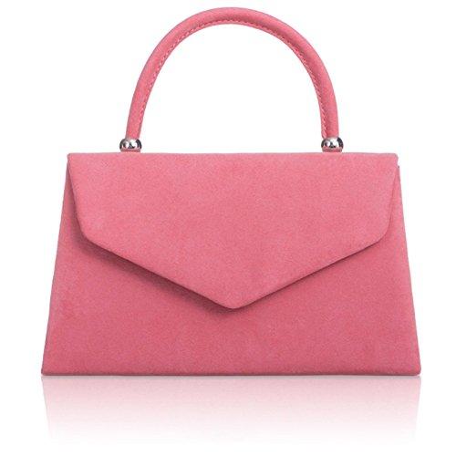 xardi London Nuovo portatile Borse da donna in finta pelle scamosciata donne Sera Frizione Borse Pink