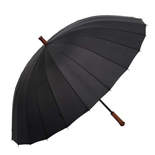 Y-S Folding Travel Umbrella Large Windproof Sonnenschutz Herren Ms Golf Umbrella Sun Umbrella Massivholzgriff (Schwarz), schwarz, a