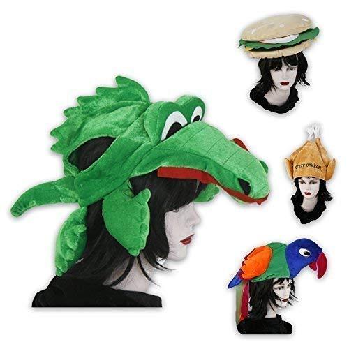 Lustige Kopfbedeckungen für Fasching, Partys od. Junggesellenabschiede - Hamburger, Papagei, Krokodil und Hähnchen (Krokodil)