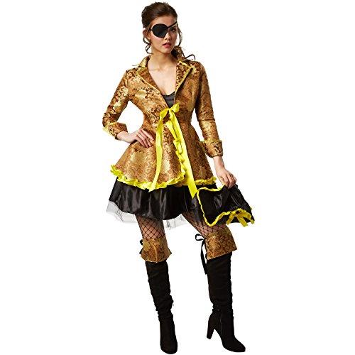 Dressforfun costume da donna - elegante corsara   incl. gambali ad imitazione del risvolto degli stivali con disegno, benda per occhio e cappello (l   no. 301771)
