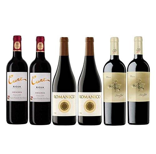 Pack Vino 1990 Puntos Parker Por Menos De 10 Euros 6 Botellas. 2 Cune Crianza, 2 Romanico Y 2 Juan Gil Roble