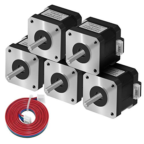 Usongshine Nema 17 Schrittmotor, 1.5A High Torque 420mN.m (59.5 oz.in) 2-Phasen 4-Draht 1.8° Stepper Motor für CNC 3D Drucker Printer/CNC XYZ (4401S 5pcs)