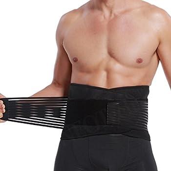 Ceinture lombaire avec sangles de compression doubles, support bas du dos, bande soutien et aide la posture - Marque Neotech Care - Noire et bleue - Taille XXXL
