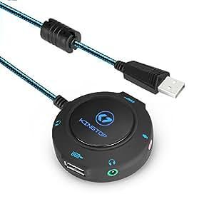 KINGTOP Carte Son Externe Câble de Conversion Hub USB Adaptateur Audio Vers 3,5mm Audio&Micro Jack pour PC Ordinateur Portable Tablette PS4