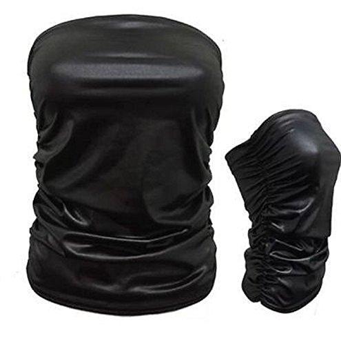 Ladies Wetlook PVC Bodycon Peplum Frill Tunique Robe Top Cardigan Leggings Cami Boobtube PU Look en cuir EUR Taille 36-54 Wetlook Ruched Boobtube