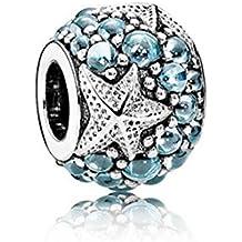 Kiss Me Plata de Ley CZ Crystal Charm Beads Fits Pandora Chamilia y Troll pulseras, 11x 12mm, agujero: aproximadamente 5mm, la de estrellas de mar océano Love Beads