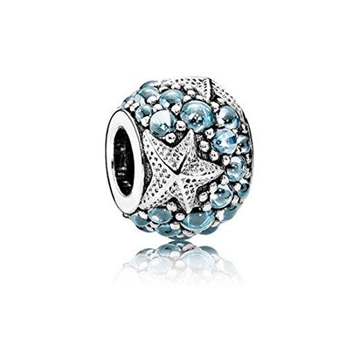 Mare ciondoli a stella con cristalli CZ in vero argento Sterling 925 Charms compatibile con 3 mm Serpente Braccialetto a catena