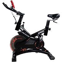 ISE Vélo d'appartement Ergomètre Spinning Biking,Petit Indoor Cardio Vélo,Poids d'inertie 15 KG avec Programme et l'Ecran LCD, Supports pour Bras, cardiofréquencemètre, Silencieux,120kg